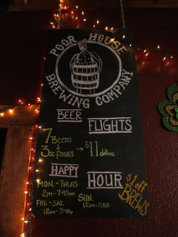 Poor House Brew Logo and Hours
