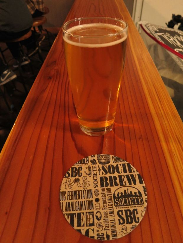 Societe Brewing Company Glass and Coaster