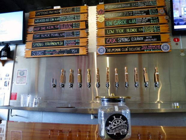 Helms Brewing Company Taps and Beer Board
