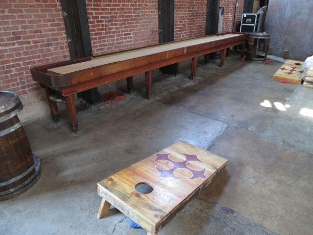 Mission Brewery Shuffle Board and Cornhole