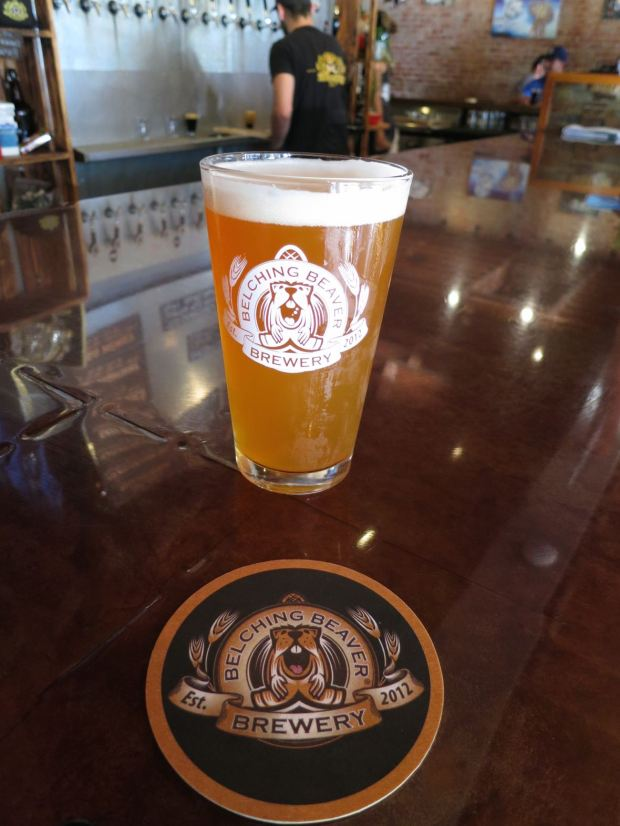 Belching Beaver North Park Beer Glass and Coaster