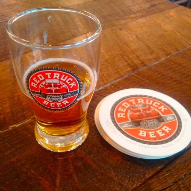 Red Truck Beer Company Beer Glass and Coaster