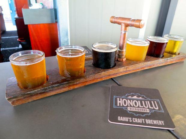 Honolulu Beerworks Beer Flight