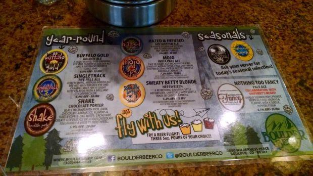 Boulder Beer DIA Beer Menu